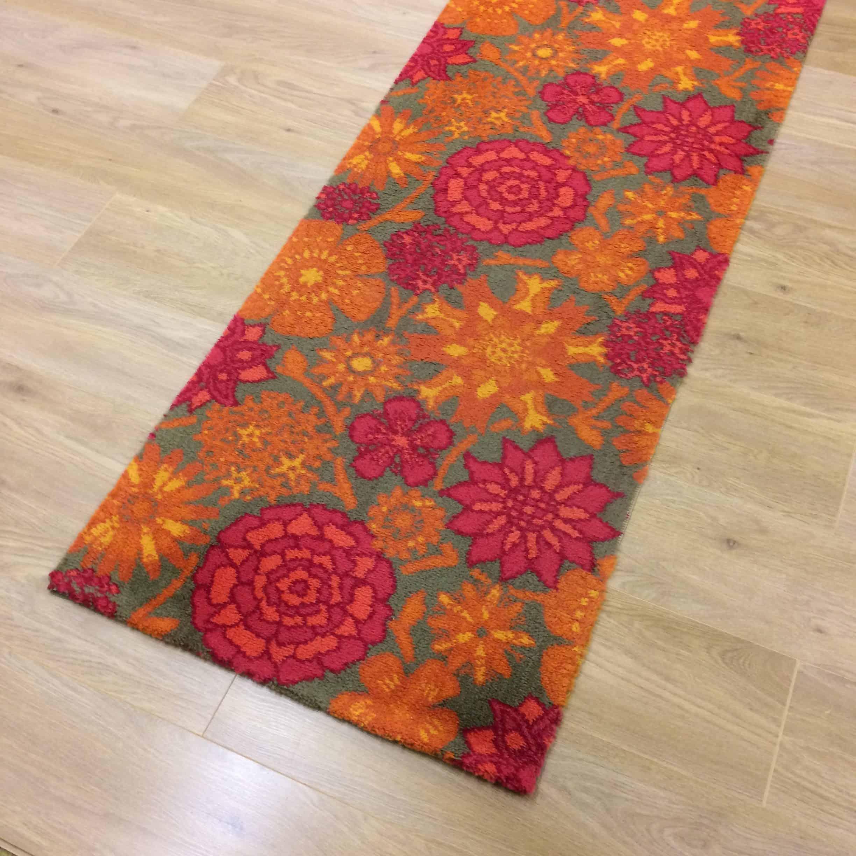 1960s psychedelic floral rug runner carpet