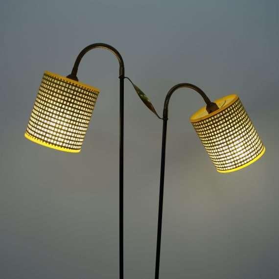 1950s double shade floor lamp