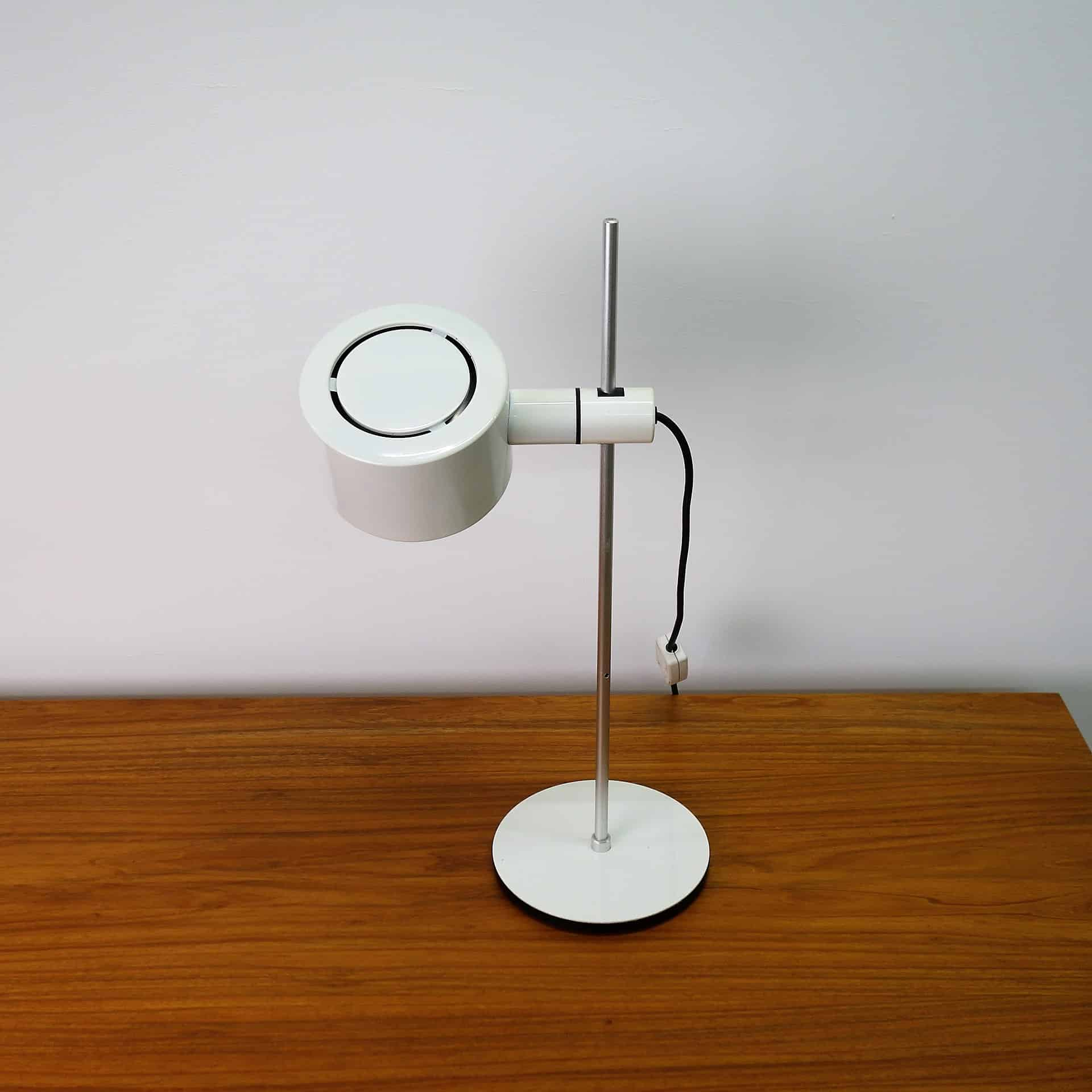 1970s white desk lamp by Conelight Ltd