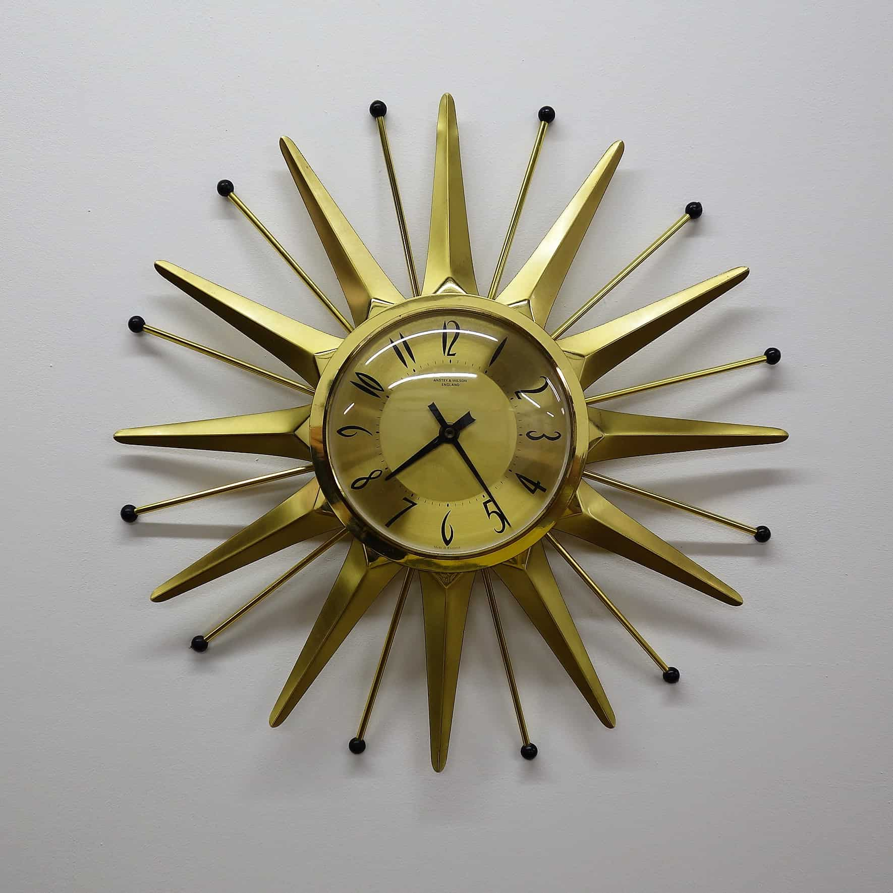 1960s star burst clock by Anstey and Wilson