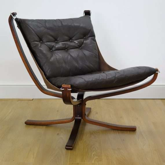 Brown leather low Falcon chair by Sigur Ressell