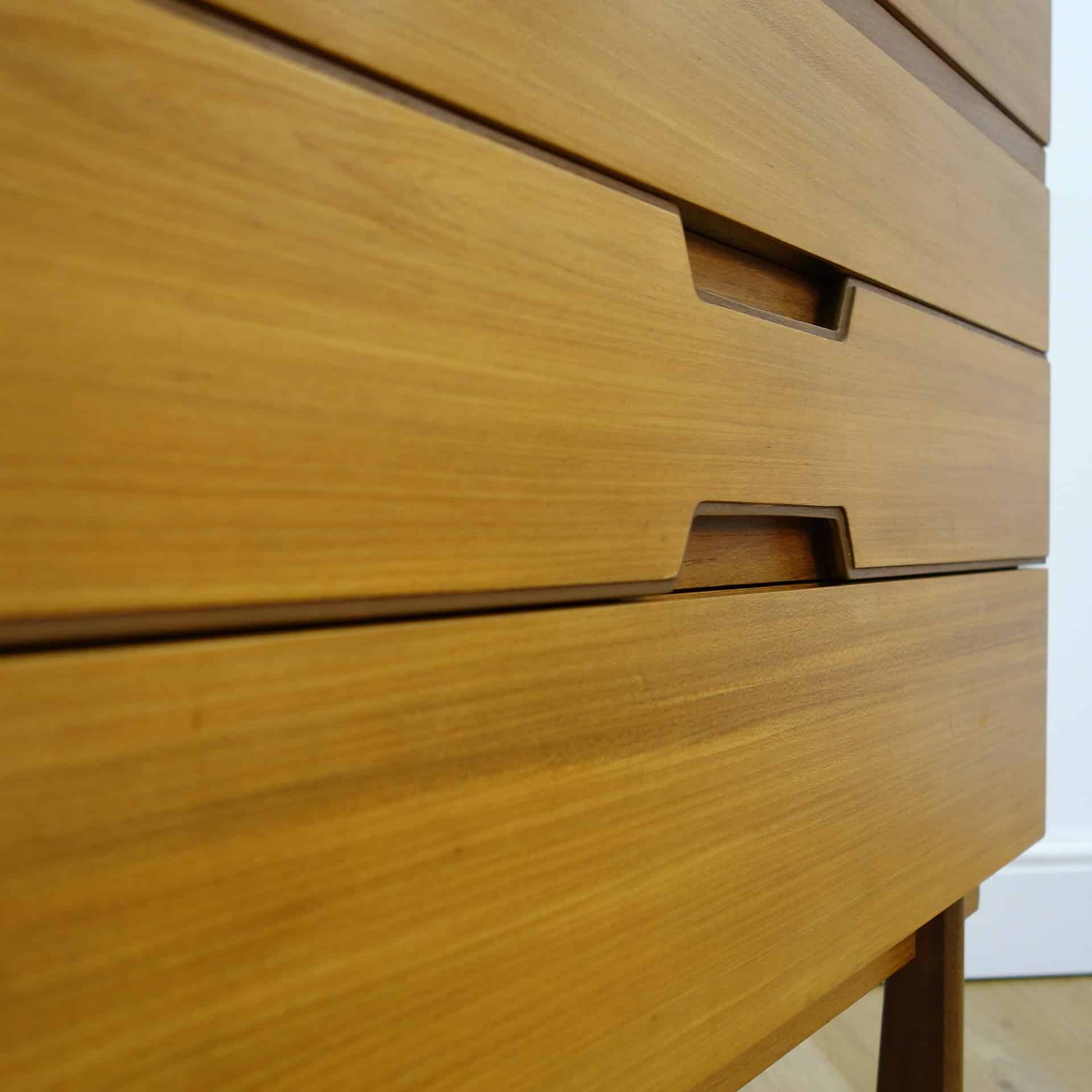 Tall Q range teak chest of drawers by Uniflex