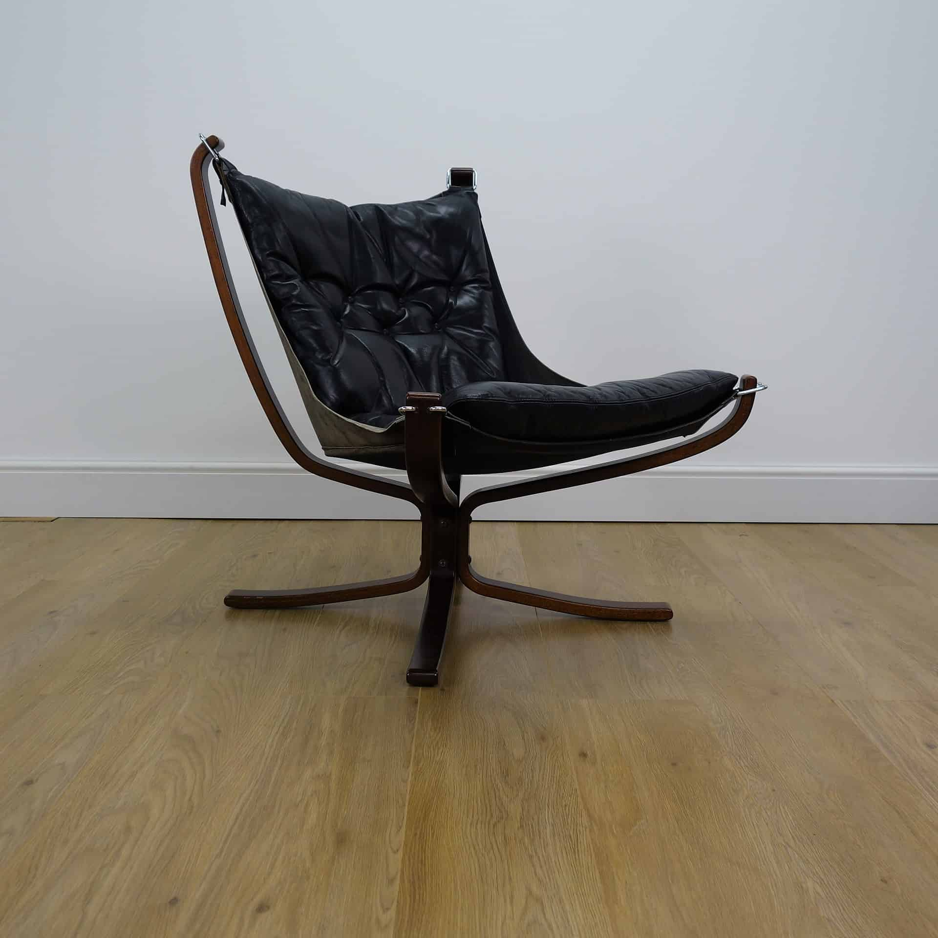 Black leather low Falcon chair by Sigur Ressell