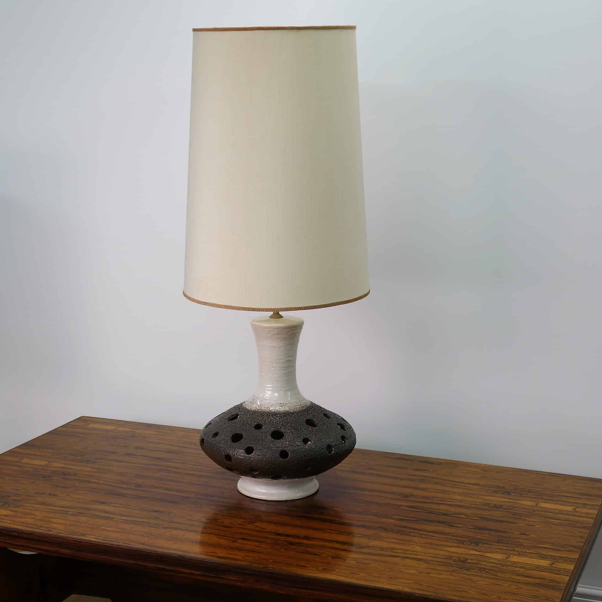 1970s West German Pierced Tall Table Lamp Mark Parrish
