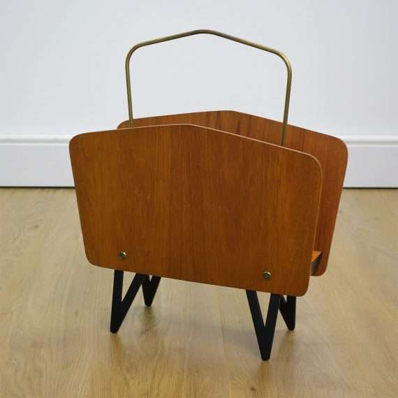 1950s teak and brass magazine rack from Norway