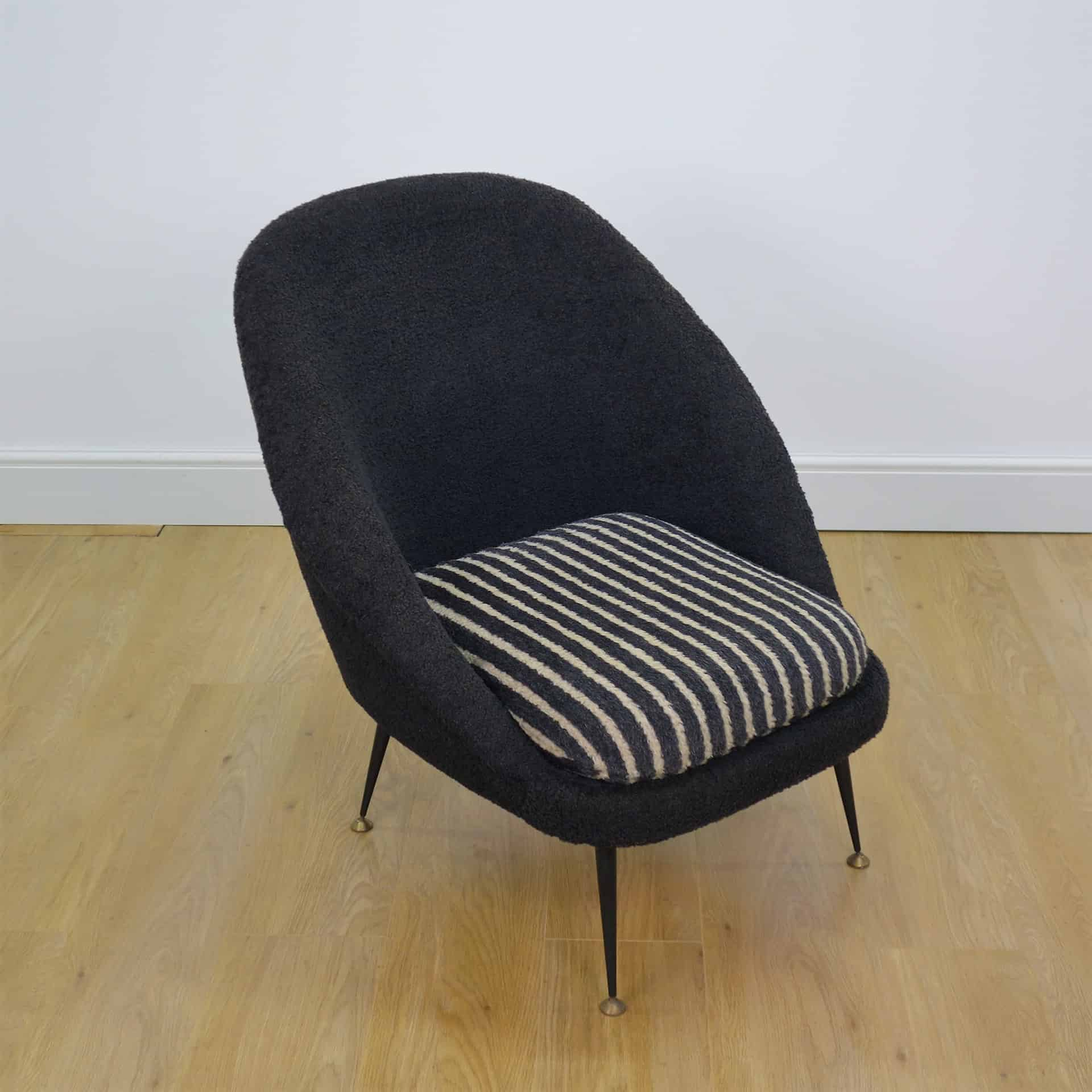 Belgium 1950s arm chair on metal legs