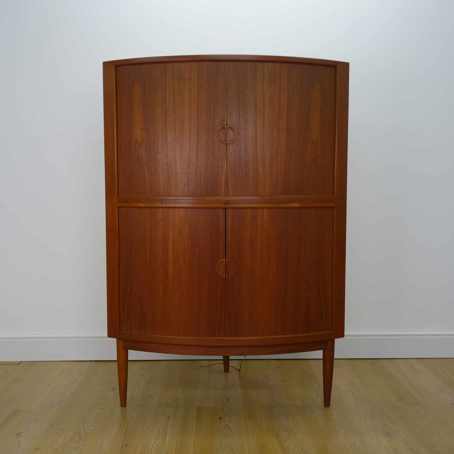 1960s Danish teak corner cocktail cabinet