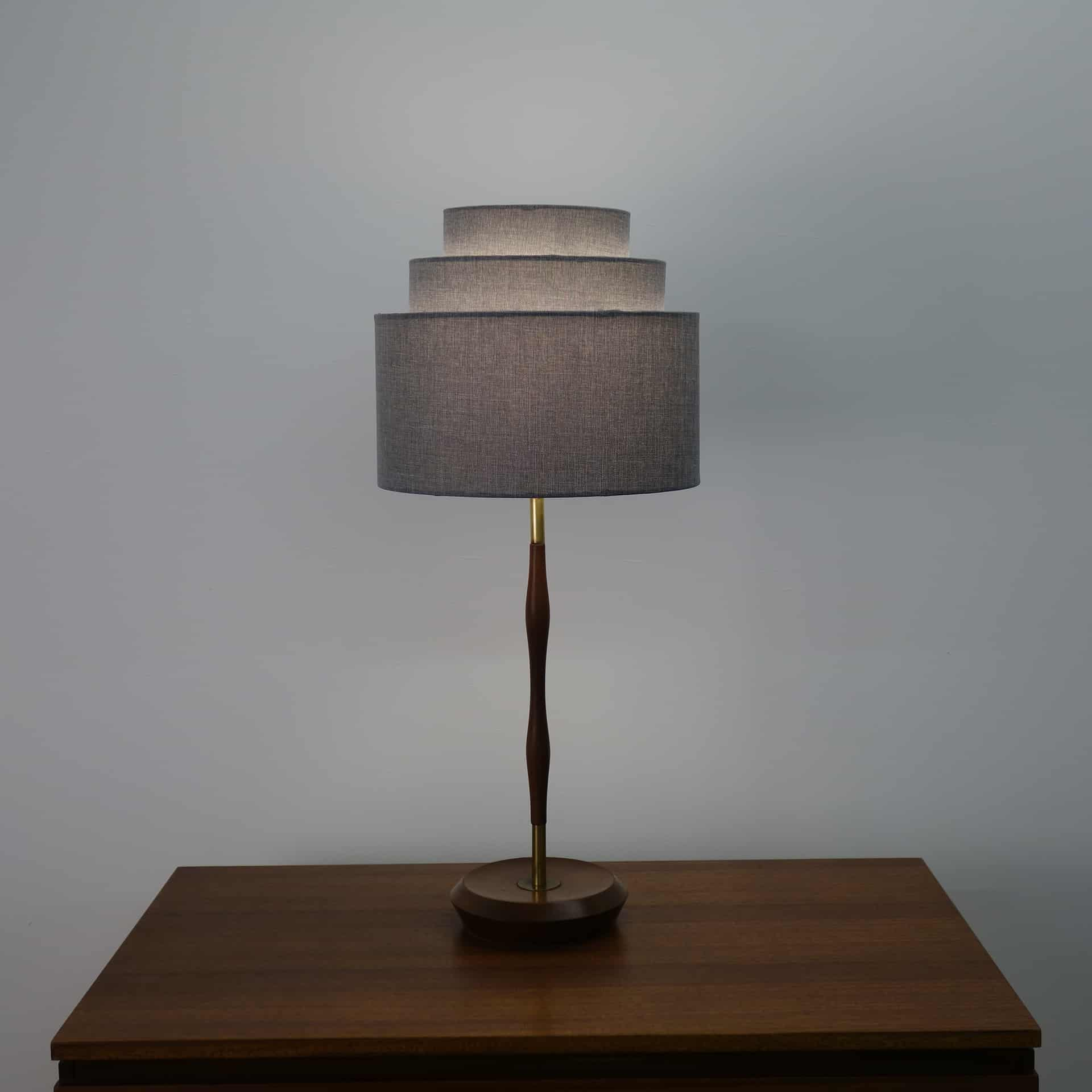1960s teak table lamp with undulating stem