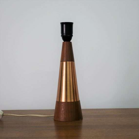 1960s teak and copper lamp base from Norway