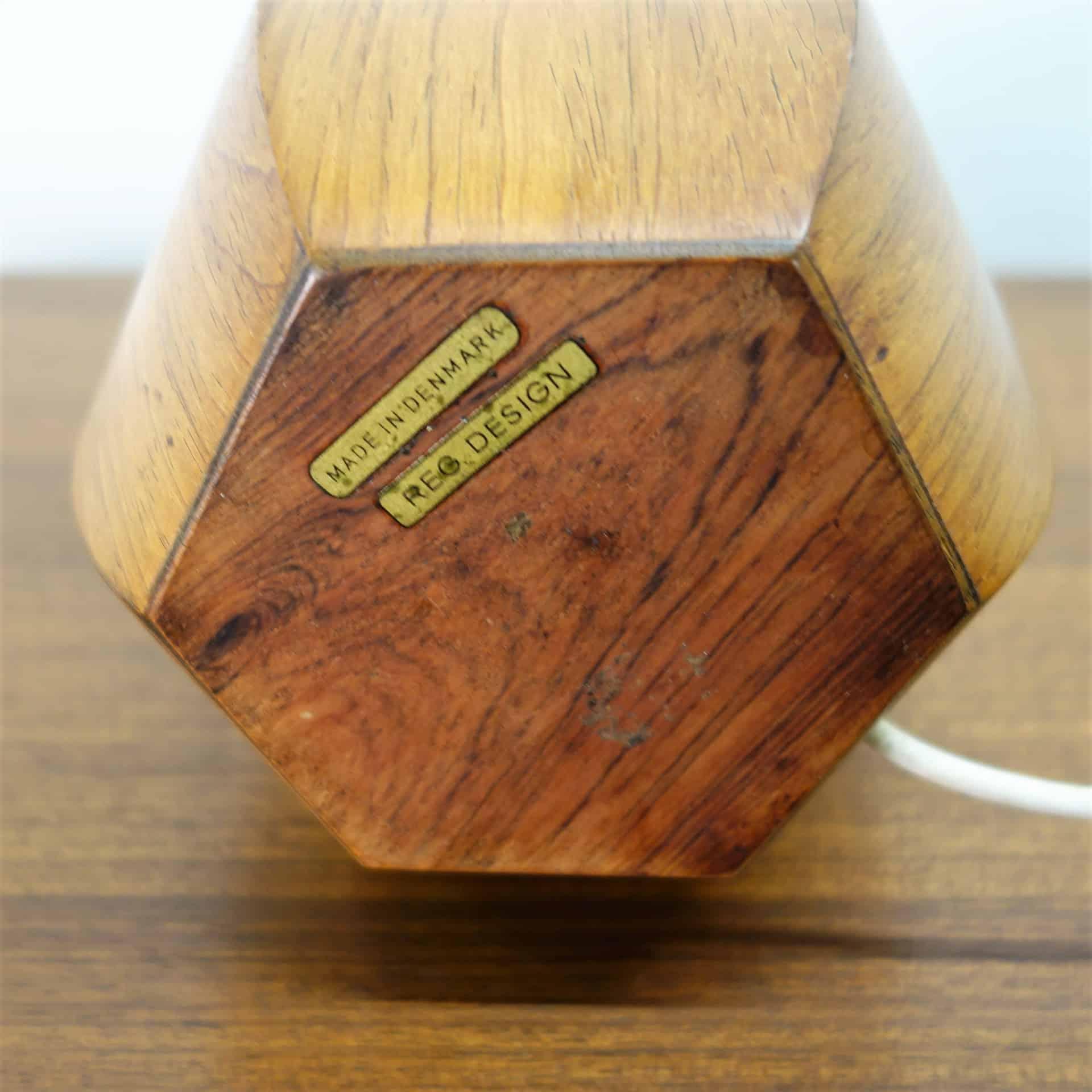 1960s Danish teak hexagonal table lamp