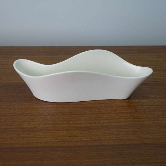 White Poole freeform undulating dish
