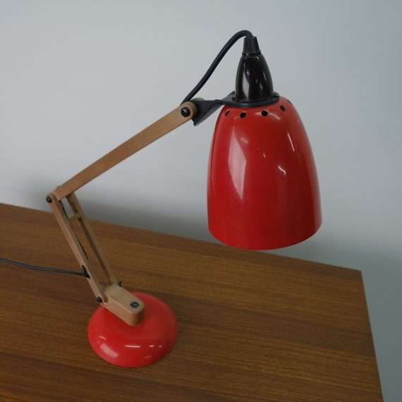 1970s red adjustable desk light by Maclamp