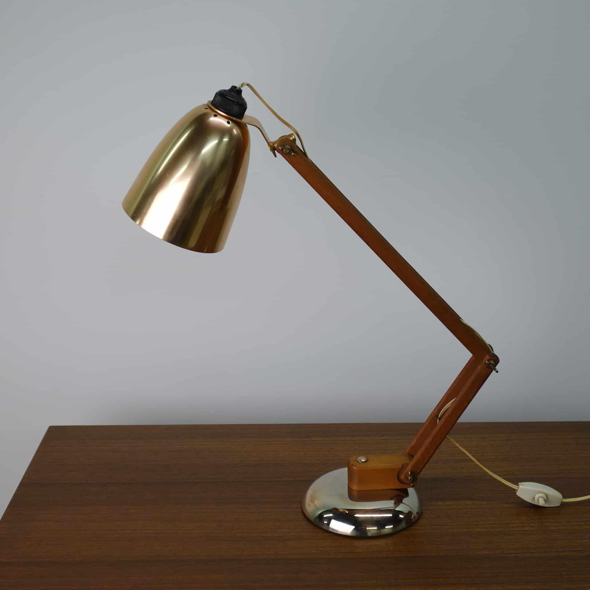 1960s copper adjustable desk light by Maclamp