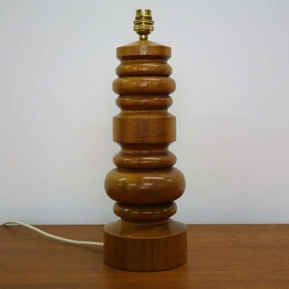 1960s turned teak table lamp base