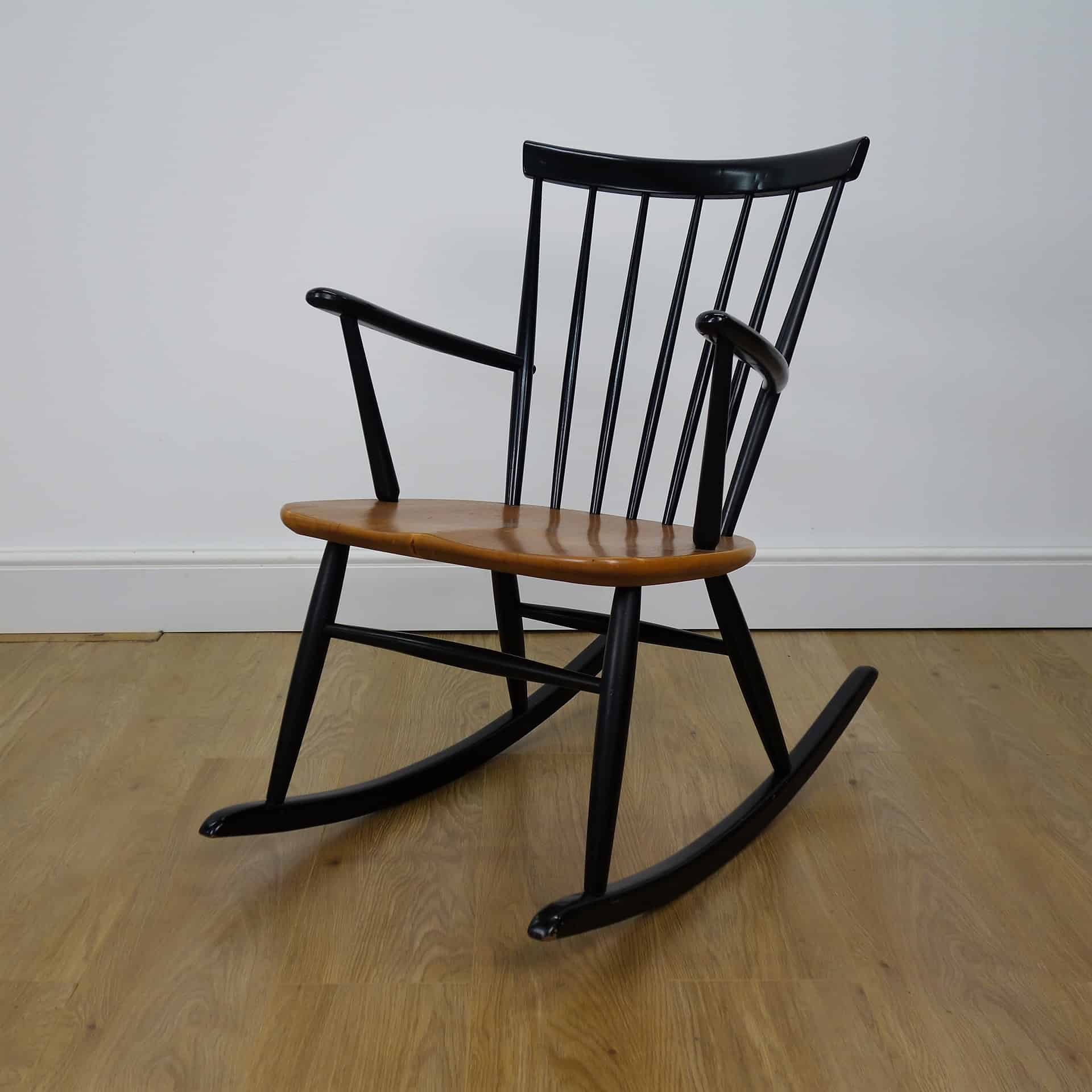 Teak and ebonised rocking chair by Hagafors Sweden