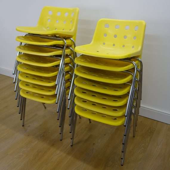 15 Yellow Polo chairs by Robin Day for Hille