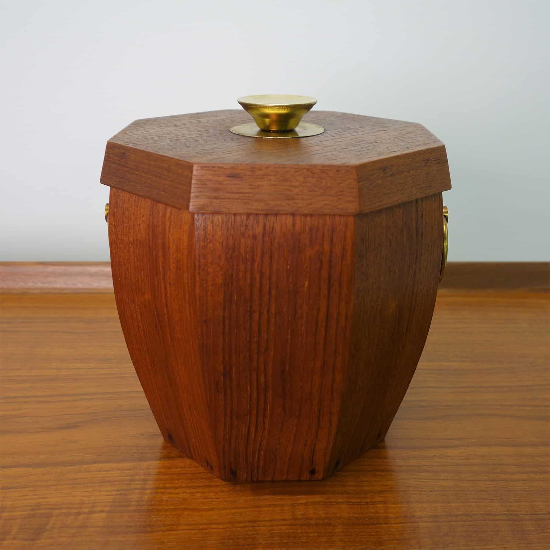 1960s hexagonal teak ice bucket