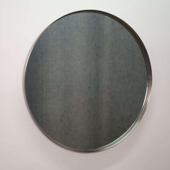 Large 1970s round stainless steel mirror