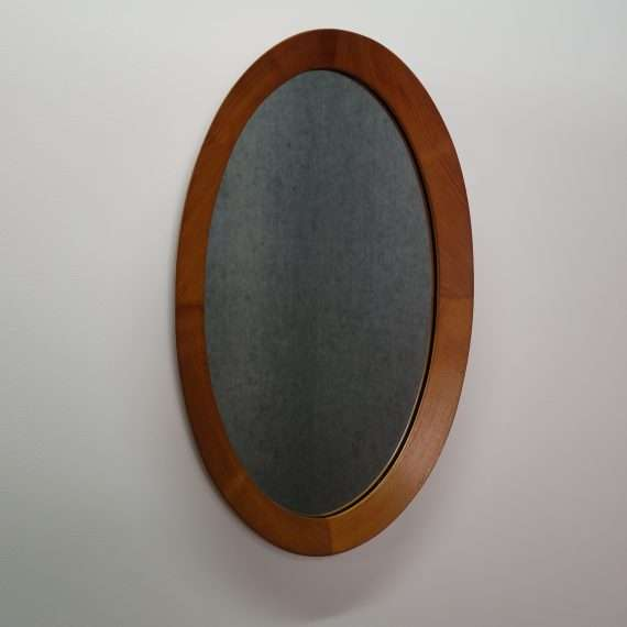 1960s danish teak oval wall hanging mirror