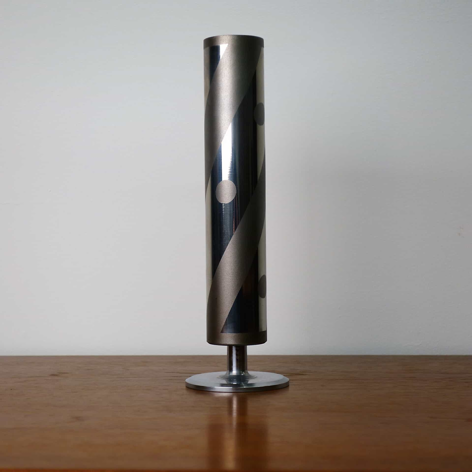 70s chrome plated cylindrical stem vase
