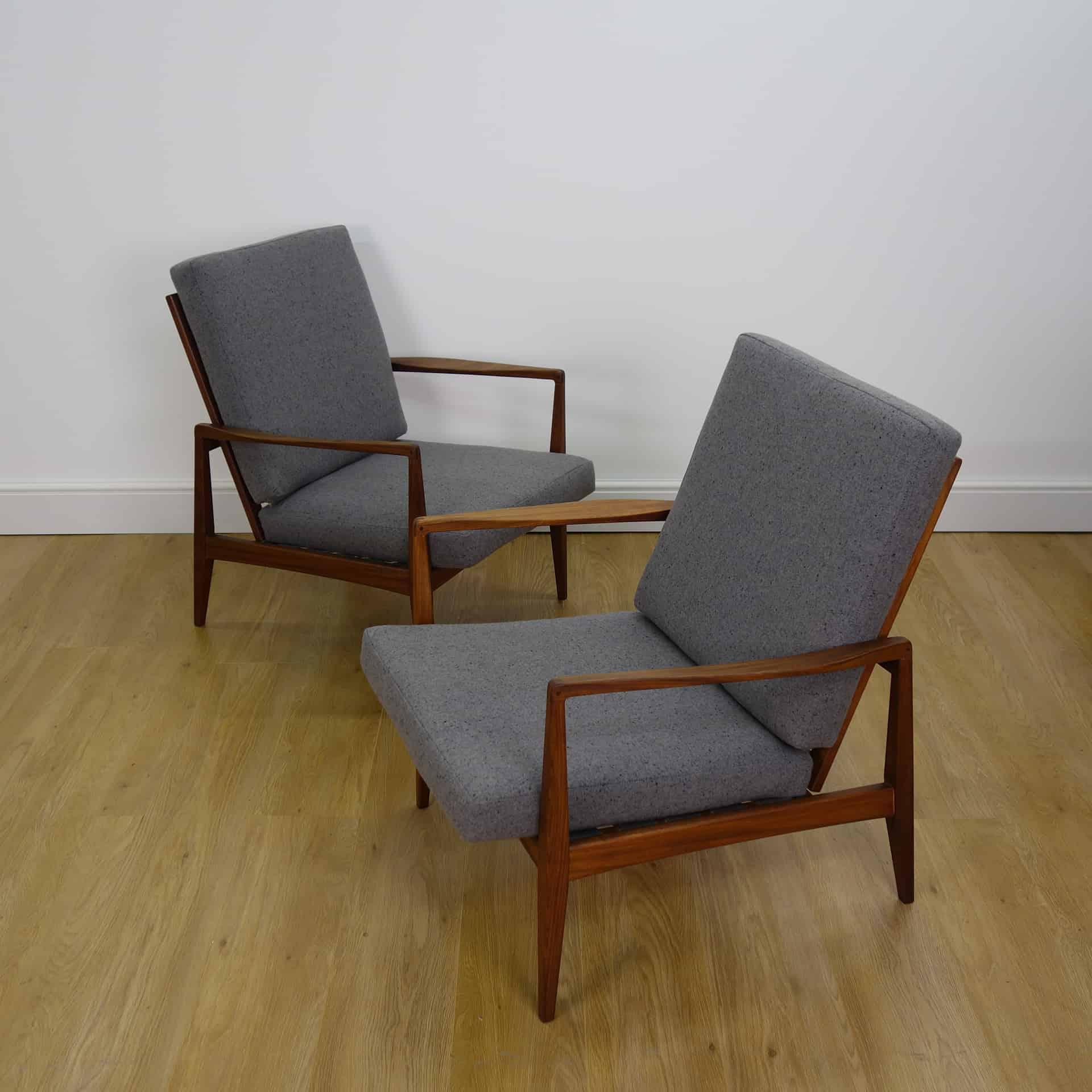 Pair of Kofod Larsen style 1960s teak armchairs