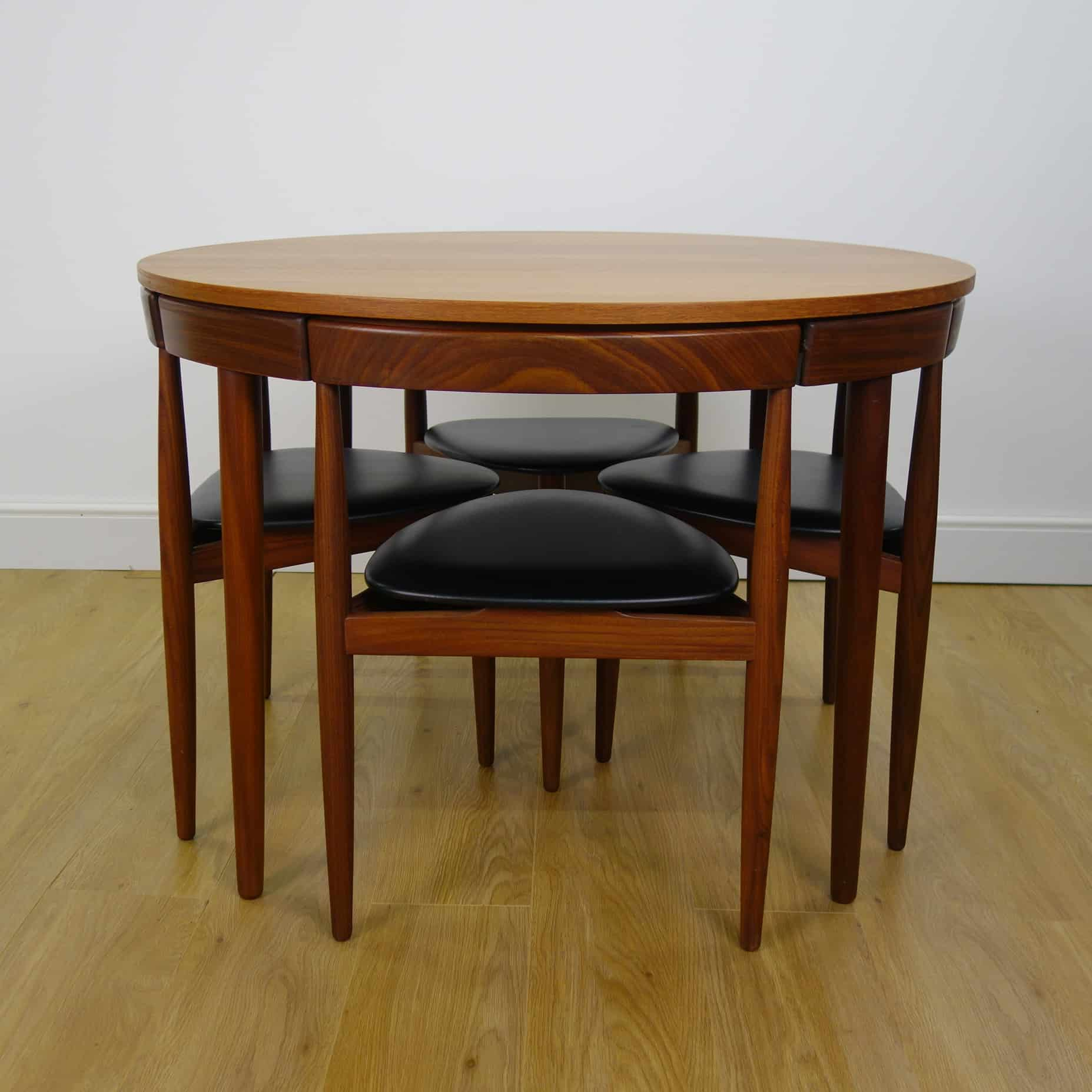 Danish teak dining table and chairs by Frem Rojle