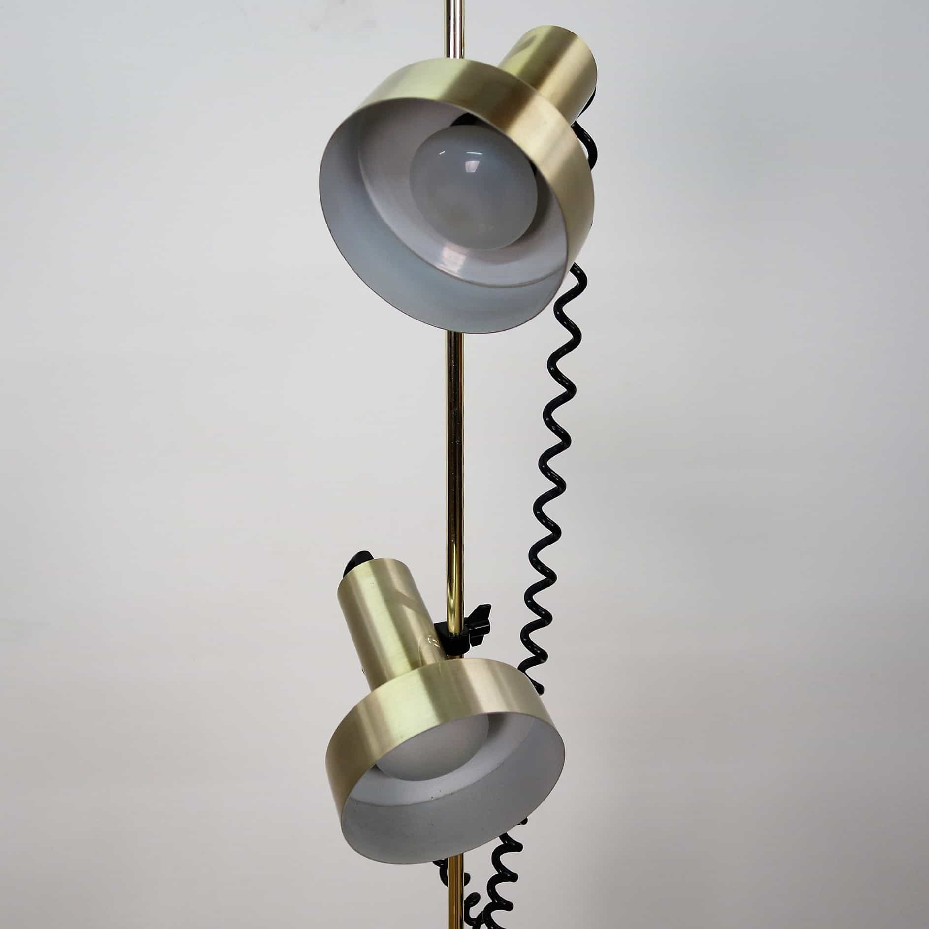 1970s double spot brass Maclamp floor lamp