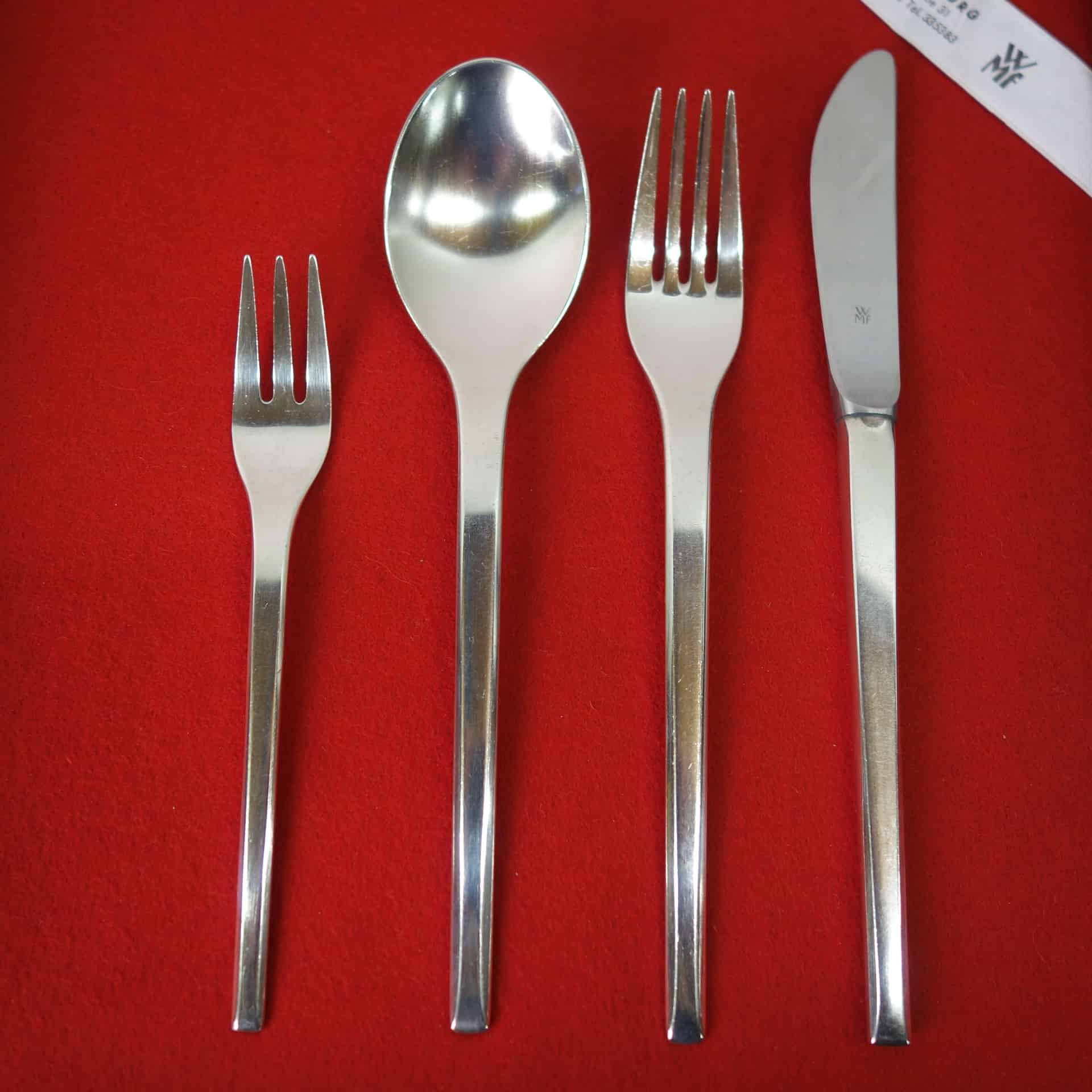 set of modernist cutlery by wmf germany mark parrish mid century modern. Black Bedroom Furniture Sets. Home Design Ideas