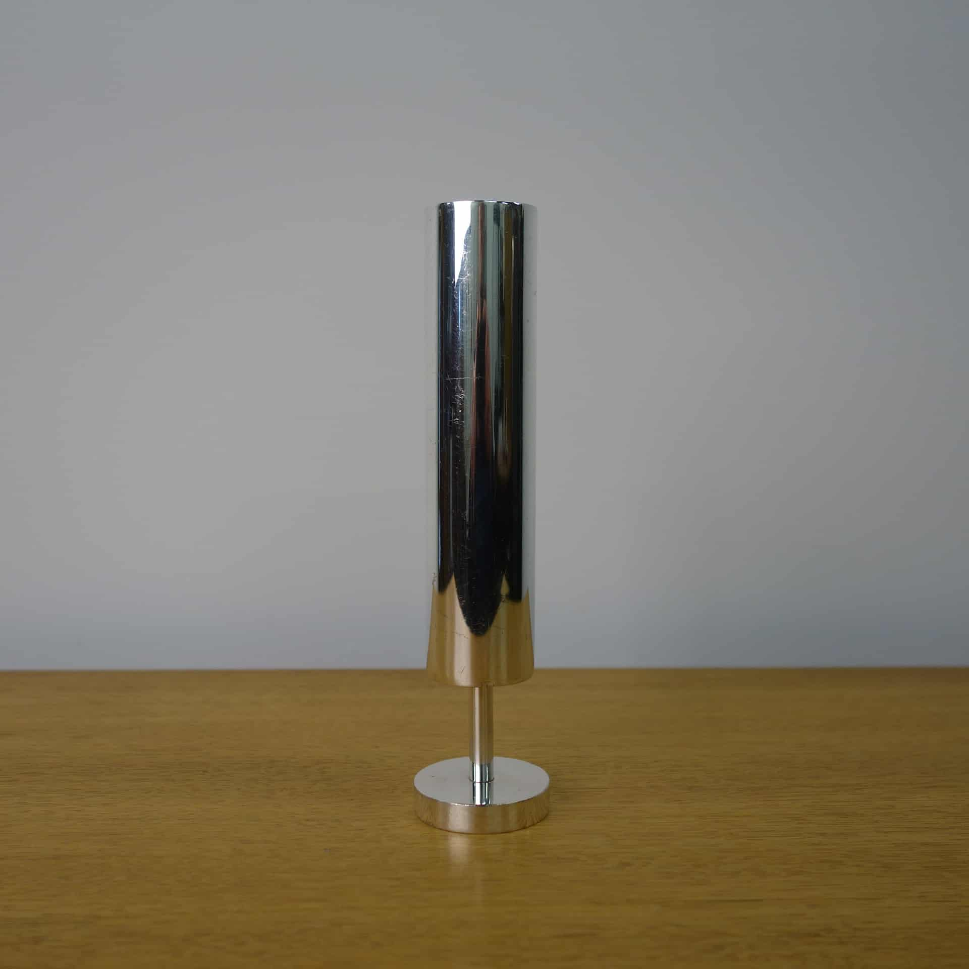 60s silver plated cylindrical stem vase