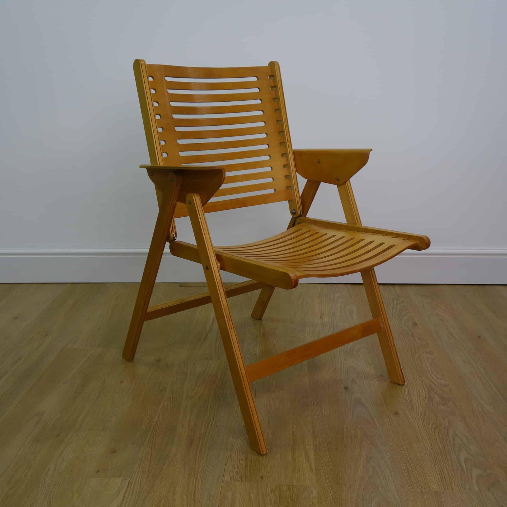 Rex plywood folding chairs designed by Niko Kralj