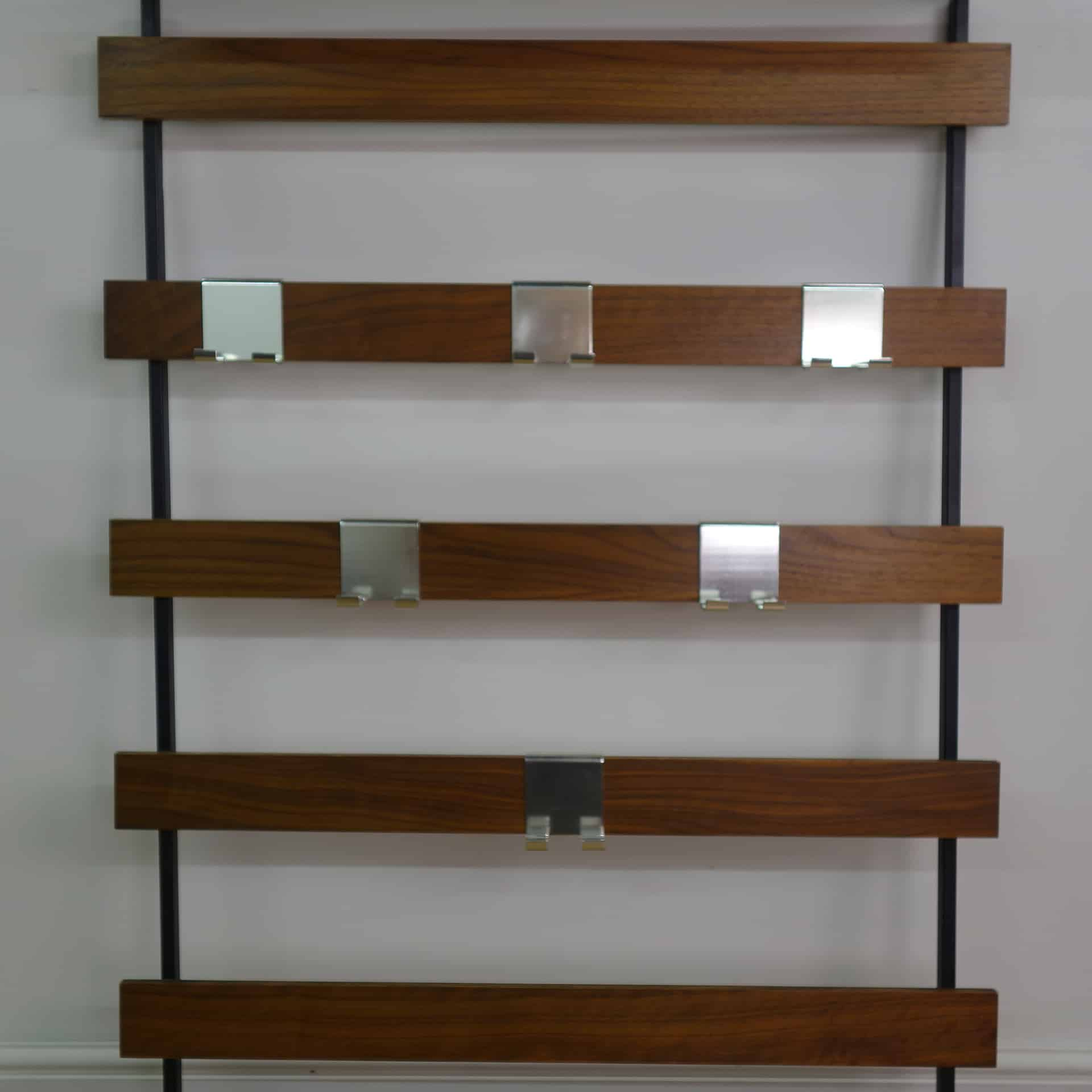 1960s slatted teak wall mounted coat hooks and hat rack ...