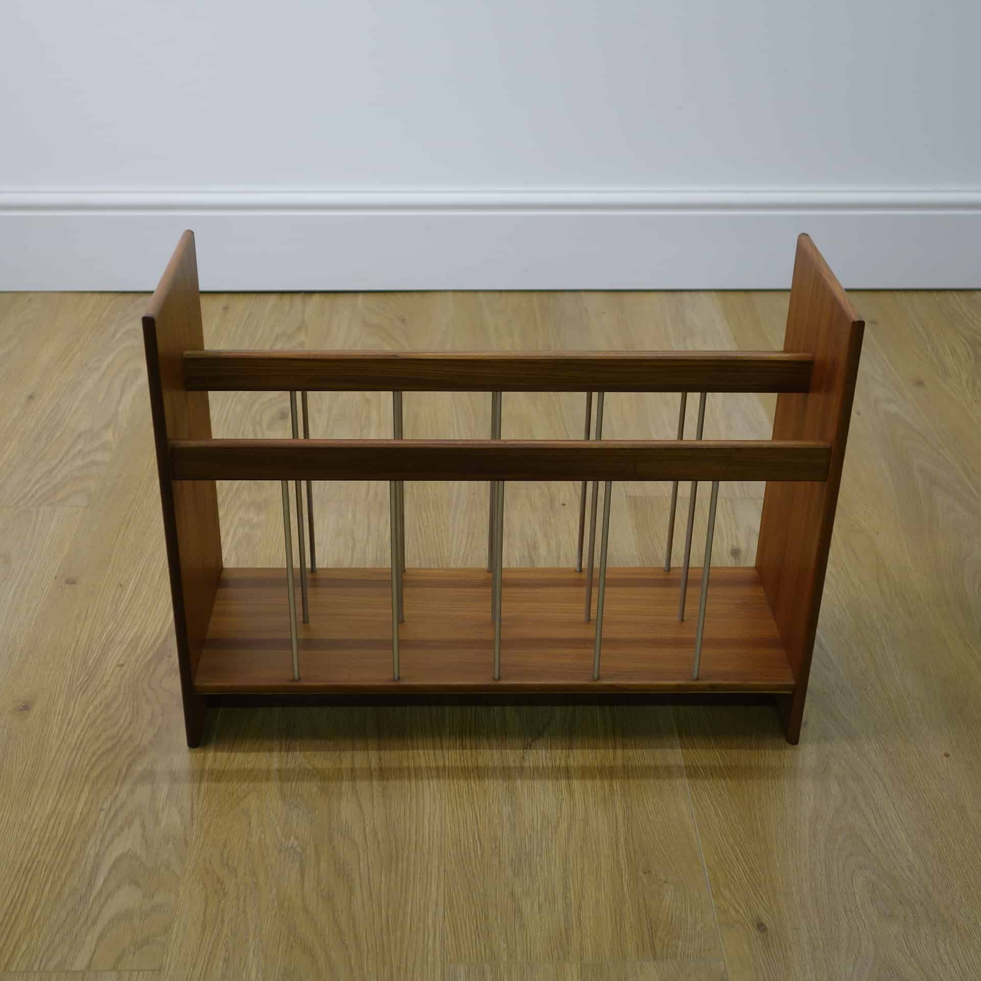 1960s teak and metal magazine rack