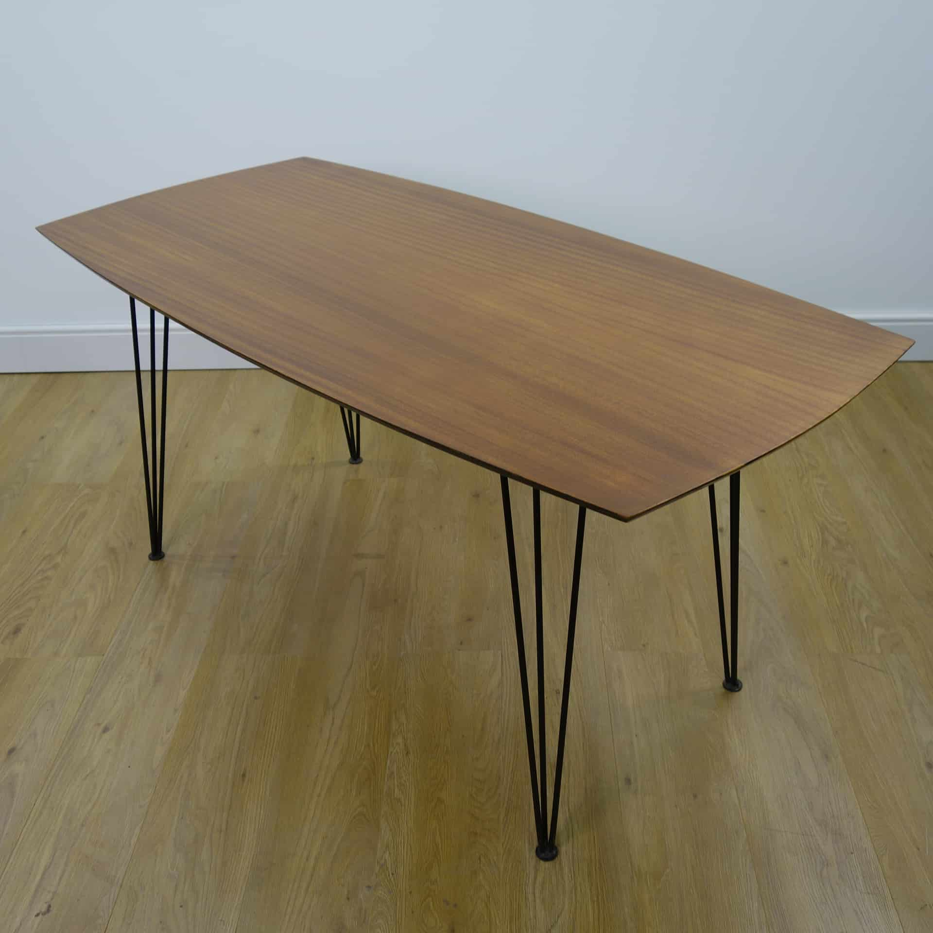 1950s teak dining table on metal triple rod legs  mark