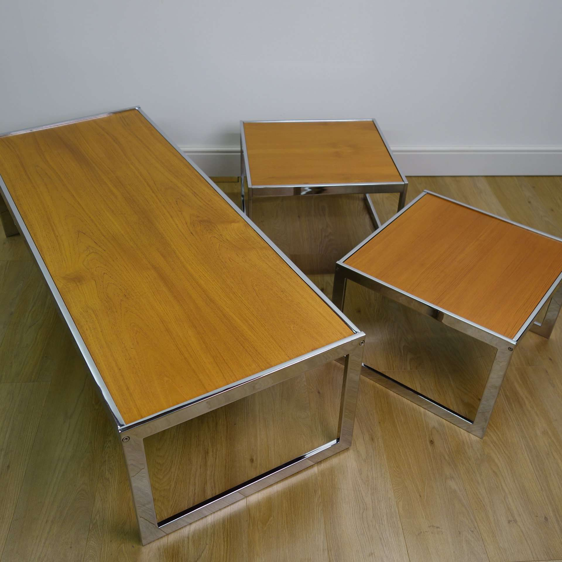 Stunning Teak And Chrome Contemporary Small Coffee Table: Teak And Chrome Coffee Tables By Howard Miller 1970s