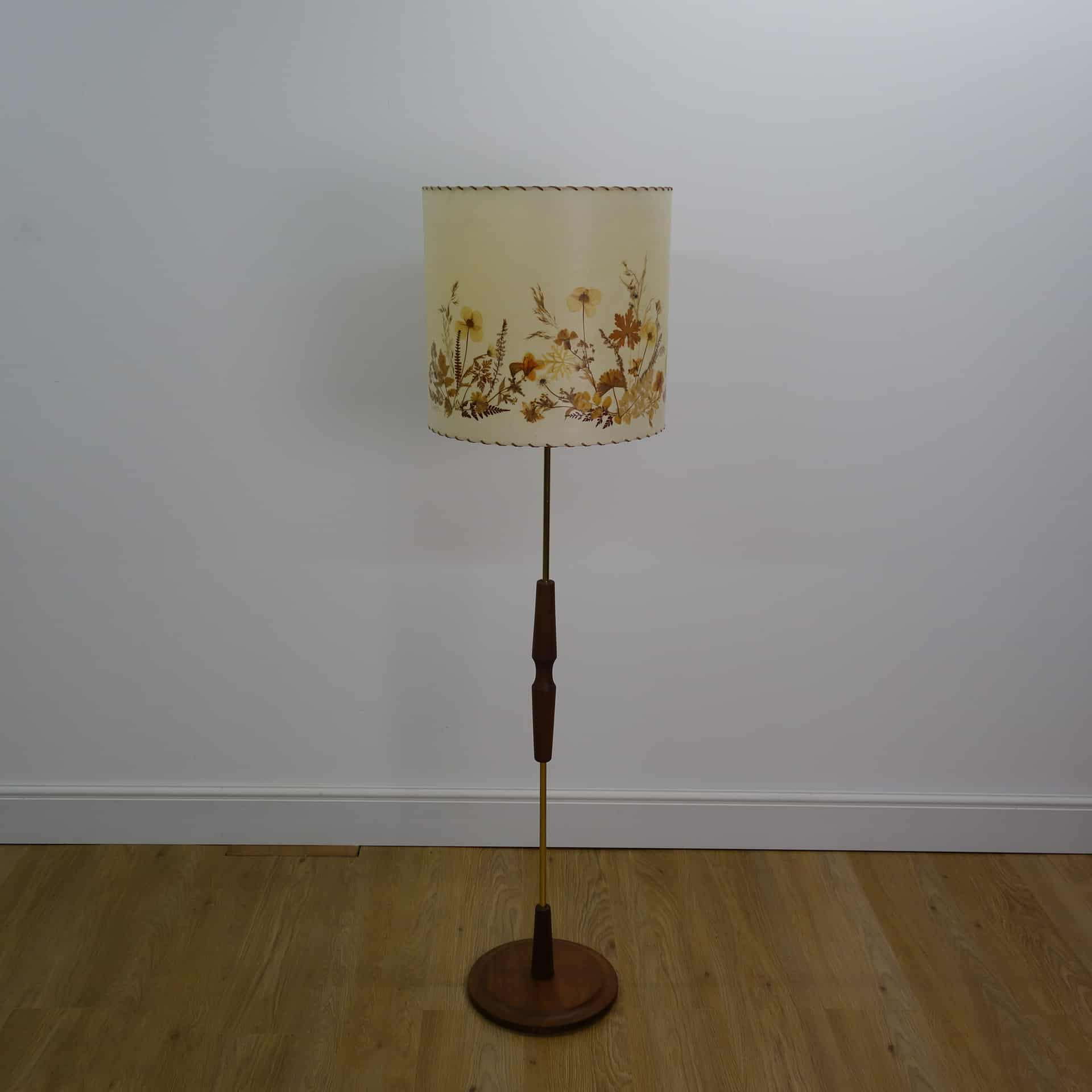 Mid Century Standard Lamp: 1960s Teak Standard Lamp With Dried Flower Shade